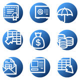 Banking web icons. Vector web icons, blue circle series Stock Photos