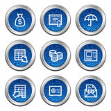 Banking web icons. Blue electronics buttons series Stock Photo