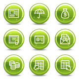 Banking web icons. Vector web icons, green glossy circle buttons series Stock Photo