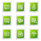 Banking web icons. Vector web icons, green stamp series Royalty Free Stock Images