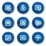 Banking web icons, blue circle buttons. Vector web icons set. Easy to edit, scale and colorize Royalty Free Stock Photography