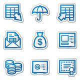Banking web icons, blue contour sticker series. Vector web icons. Easy to edit, scale and colorize Stock Photo