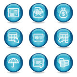 Banking web icons, blue glossy sphere series. Vector web icons, blue glossy sphere series Royalty Free Stock Photos
