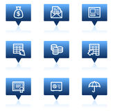 Banking web icons, blue speech bubbles series. Vector web icons set. Easy to edit, scale and colorize Royalty Free Stock Photos