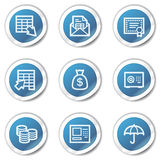 Banking web icons, blue sticker series. Vector web icons set. Easy to edit, scale and colorize Stock Photos
