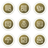 Banking web icons,  brown circle buttons series. Vector web icons set, brown circle buttons. Easy to edit, scale and colorize Stock Image