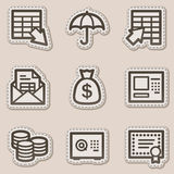 Banking web icons, brown contour sticker series. Vector web icons set. Easy to edit, scale and colorize Stock Images