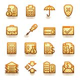 Banking web icons.  Brown series. Stock Photos