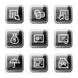 Banking web icons, glossy buttons series. Vector web icons, black square glossy buttons series Stock Photography