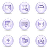 Banking web icons, glossy pearl series Stock Image