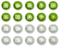 Banking web icons, green and grey circle buttons. Vector web icons set. Easy to edit, scale and colorize Royalty Free Stock Photography