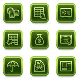 Banking web icons, green square buttons series Royalty Free Stock Photo