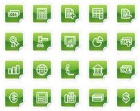 Banking web icons, green sticker series Stock Images