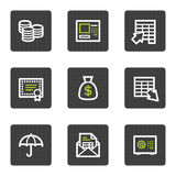 Banking web icons, grey square buttons series. Vector web icons set. Easy to edit, scale and colorize Royalty Free Stock Images