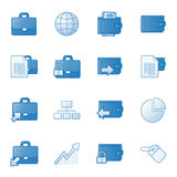 Banking web icons set 1, blue series. Vector web icons, business, finance, computers series Stock Photos