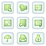 Banking web icons, white square buttons series Royalty Free Stock Images