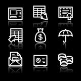 Banking white contour web icons V2. Vector web icons, white contour series Stock Photography