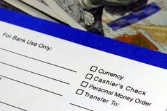 Banking withdrawal - deposit slip Stock Image