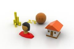 Bankinvestering en een huis Stock Afbeeldingen
