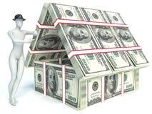 bankirer Hus från packe av dollaren man 3d vektor illustrationer