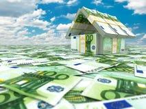 bankirer Hus från packe av euro på cloudscape royaltyfri illustrationer