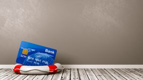 Bankkarte auf einem Rettungsring im Raum Lizenzfreie Stockfotos