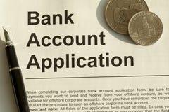 Bankkonto-Anwendung Stockfotos
