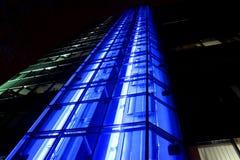 Bankkontor - blå områdeshiss Arkivfoton