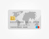 Bankkreditkort med världskartan Arkivbild