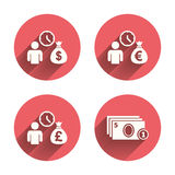 Bankleningenpictogrammen De symbolen van het contant geldgeld vector illustratie