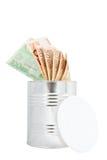 Banknontes euro en tarro del metal. Foto de archivo