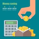 banknotów czarny kalkulatora pojęcia pieniądze oszczędzanie Wektorowa ilustracja w mieszkaniu royalty ilustracja