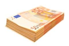 50 banknotów euro Obraz Royalty Free