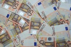 50 banknotów euro Zdjęcia Royalty Free