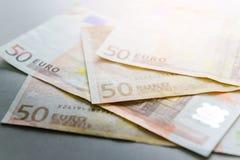 50 banknotów euro Obrazy Royalty Free