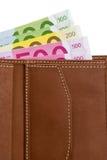 banknotów euro portfel Obraz Royalty Free