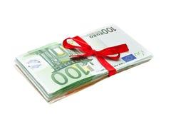 banknotów euro prezent Fotografia Stock