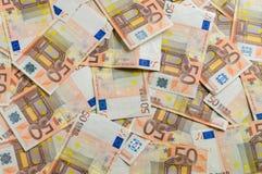50 banknotów Euro tło Obrazy Stock