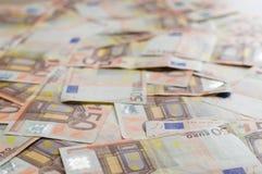 50 banknotów Euro tło Zdjęcia Royalty Free
