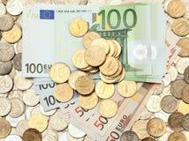 banknotów monet euro rozmaitość Zdjęcie Stock