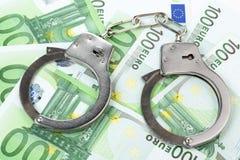 banknotów pojęcia korupci dolarowej koperty odosobniony biel Obraz Stock