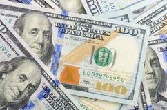 Banknotów tło sto dolarów Zdjęcia Royalty Free