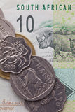 Banknot i monety skraj Południowa Afryka Obrazy Stock