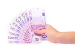 banknot ręka euro żeńska s Obrazy Stock