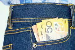 Banknot w pocket2 Zdjęcia Stock