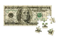 Banknote 100 dollars puzzle Royalty Free Stock Photos