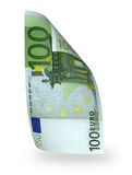 Banknote 100 euro. One banknote 100 euro isolated on white Stock Image