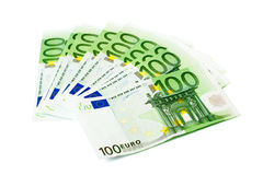 Banknote 100 euro. The European banknote 100 euro isolated on white Royalty Free Stock Image