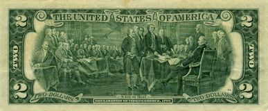 Banknote 2 dollars. The American banknote 2 dollars royalty free stock photography