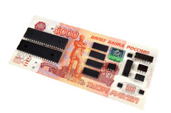 Banknote of 5000 rubles and electronic circuits Royalty Free Stock Photography